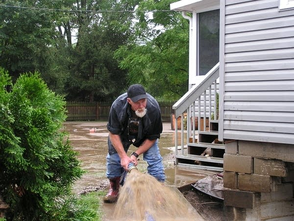 Homeowner pumps water