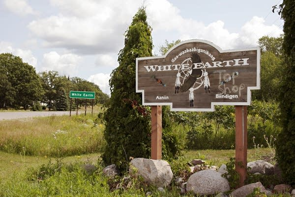 Signs welcome visitors to White Earth, on the White Earth Reservation.