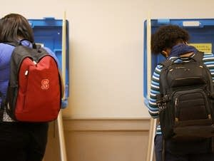 North Carolina State University students vote.