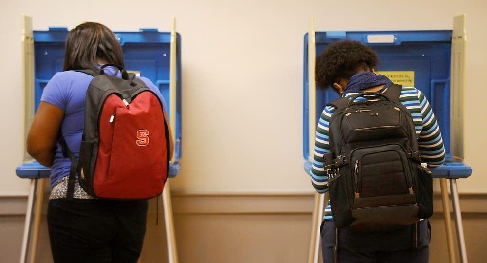 North Carolina State University students vote.