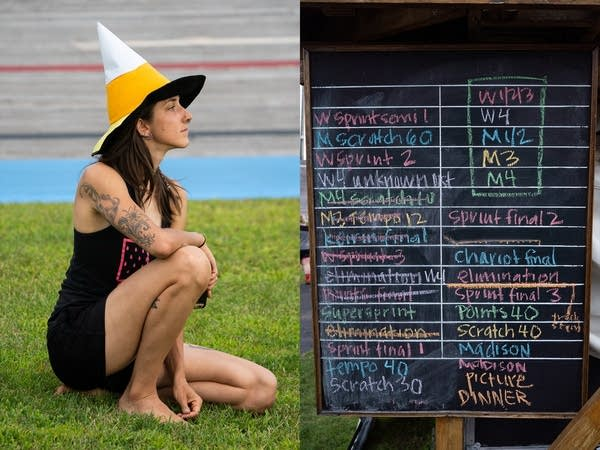 Left, a woman watches in a yellow witches hat. Right, the race schedule.
