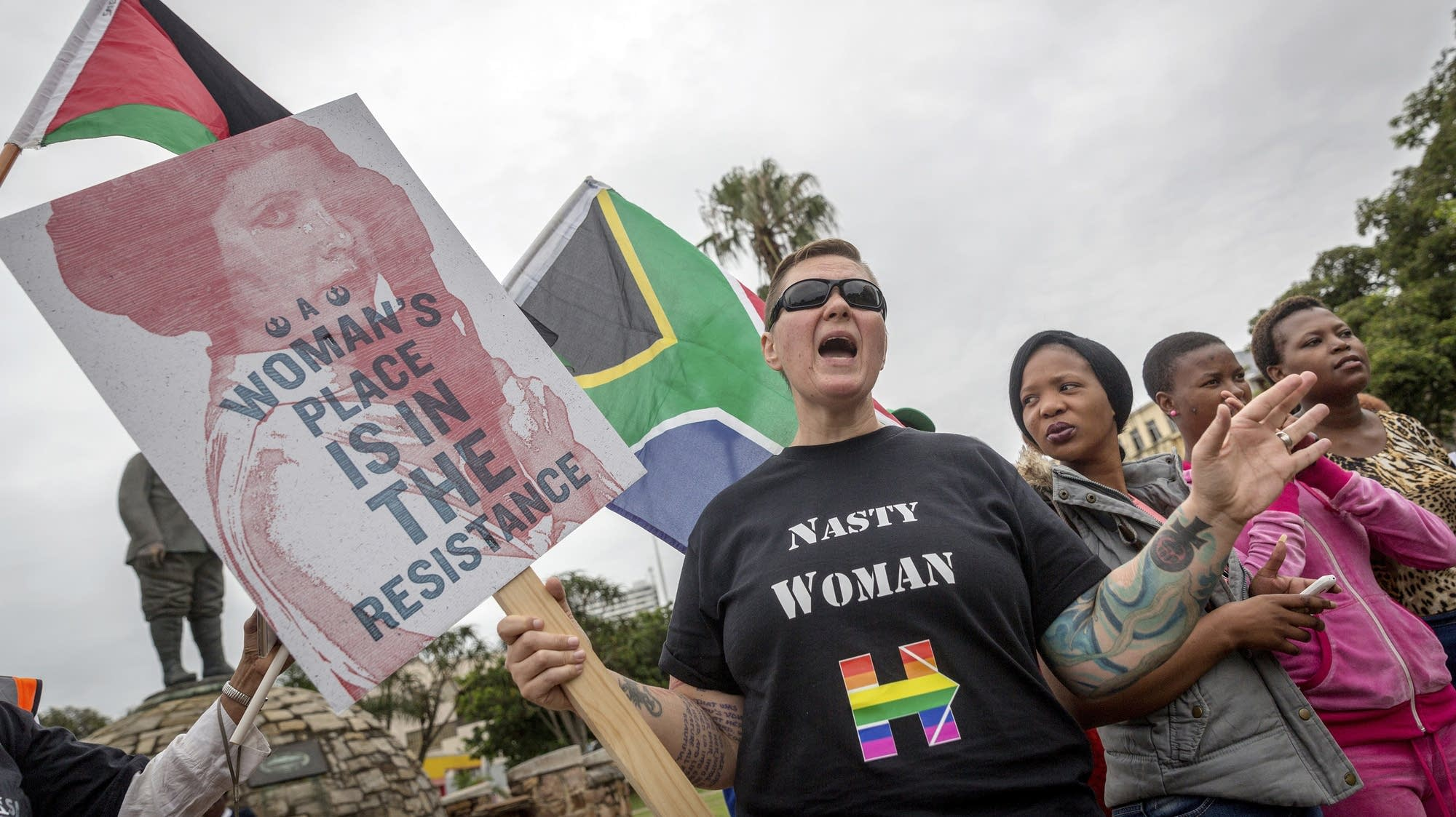 Durban, South Africa: Anti-Trump protesters shout and march.