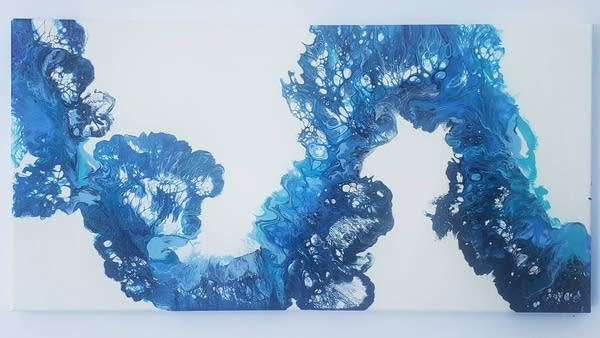 """Water Whip"", 10x20 poured acrylic on canvas by artist Geordin Crist."