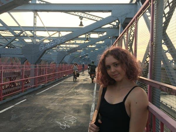 Alexandra Marello on the Williamsburg Bridge in New York City in 2019.