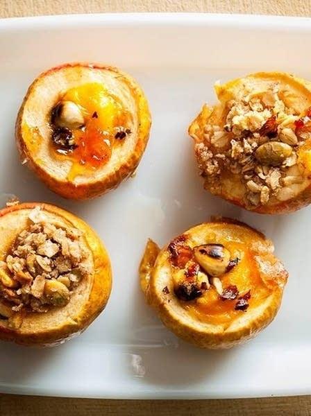 Apple desserts sit on a plate