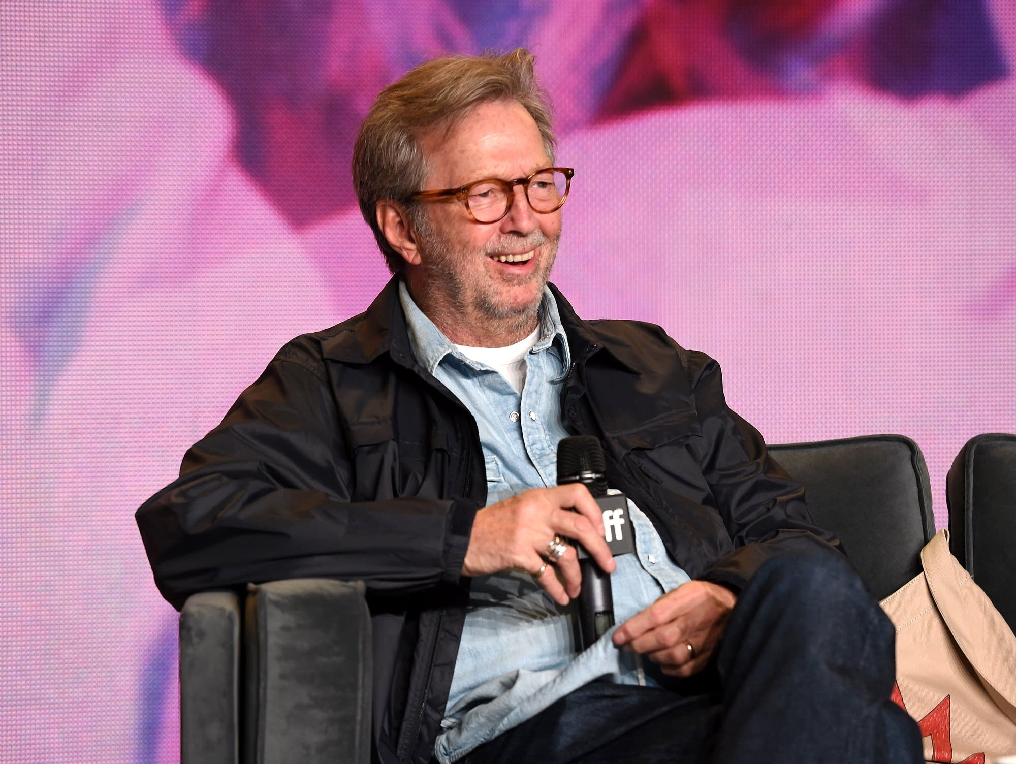 Eric Clapton speaks at the Toronto International Film Festival.