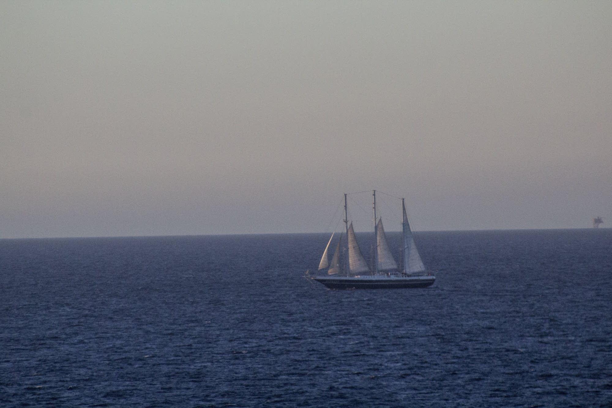 Leaving Rotterdam - tall ship