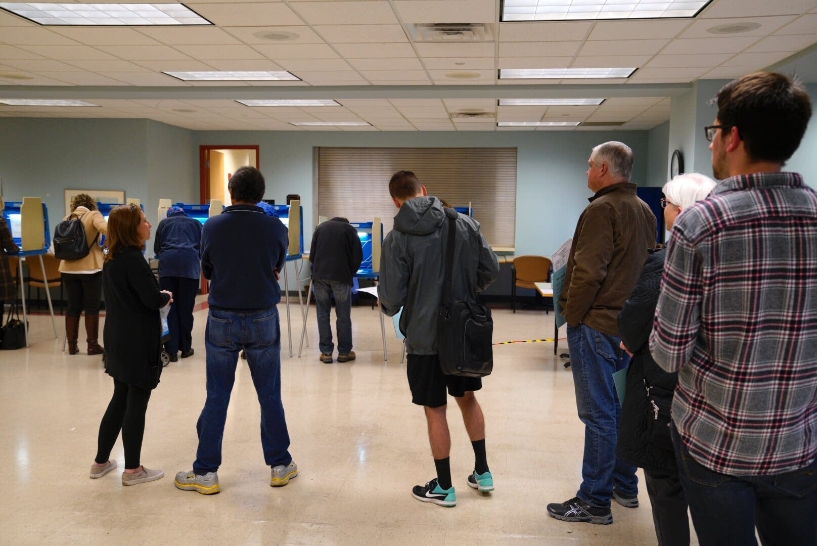 People line up to vote at the Edina Senior Center.