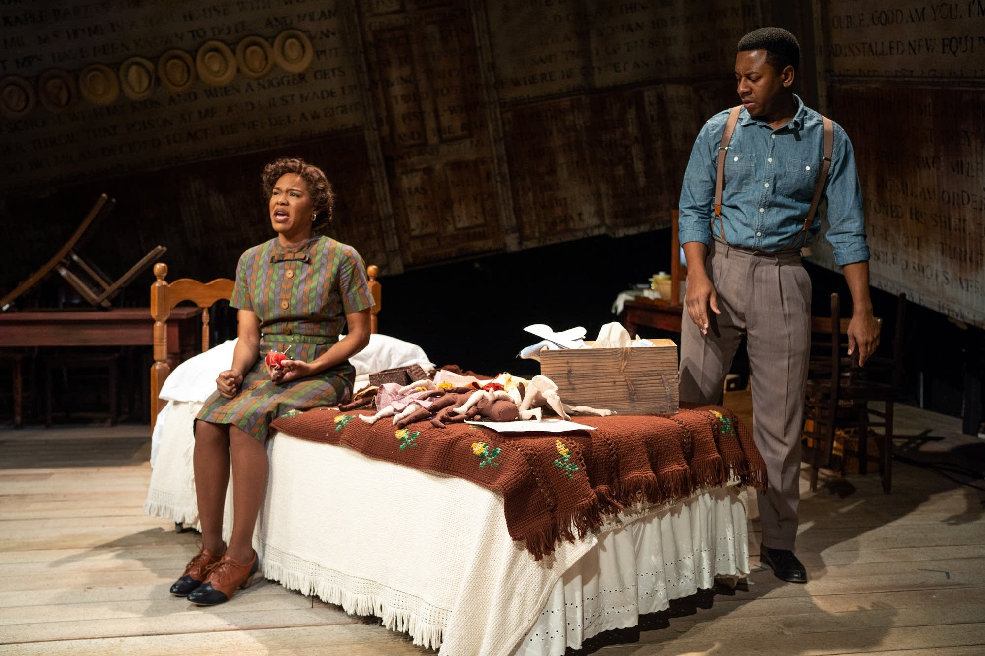 Dame Jasmine Hughes and Darrick Mosley rehearse a scene.