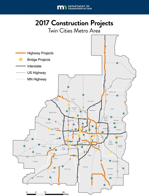 A map of construction projects around the Twin Cities