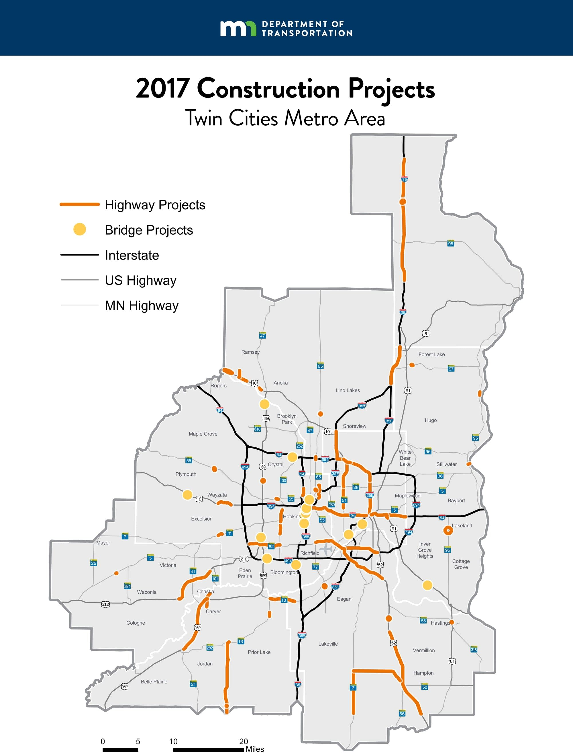 a map of construction projects around the twin cities. orange cone season mndot unveils b in  road projects