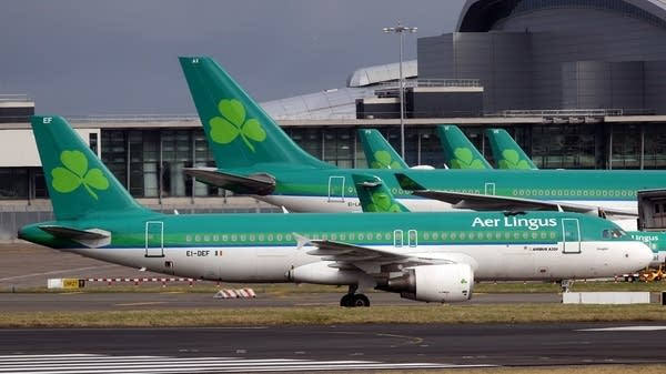 Aer Lingus flights are pictured at Dublin Airport in Ireland..