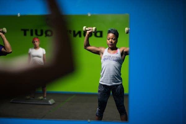 Samantha Pierce works out during a hip-hop aerobic class.