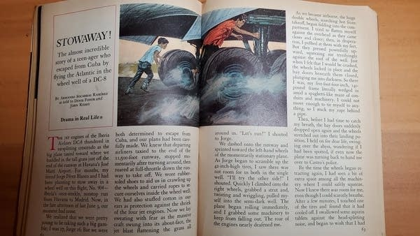 An open copy of Reader's Digest showing the original 1970 Stowaway story