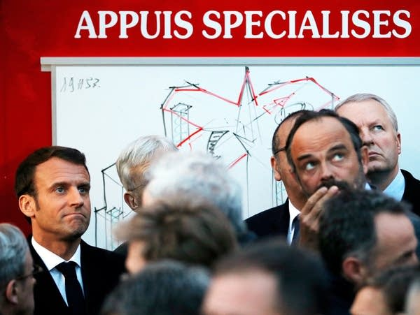 Macron and Philippe react to the fire of Notre Dame Cathedral.