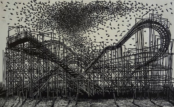 Apocatástasis, woodcut, Diana Morales Gali