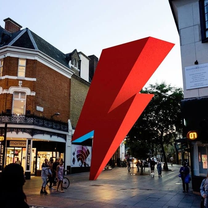 A photoillustration depicts a planned David Bowie tribute sculpture
