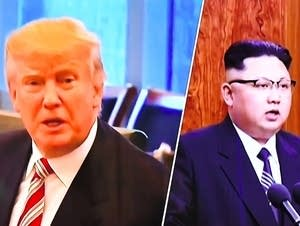 President Trump and North Korean leader Kim Jong-Un on a TV screen.