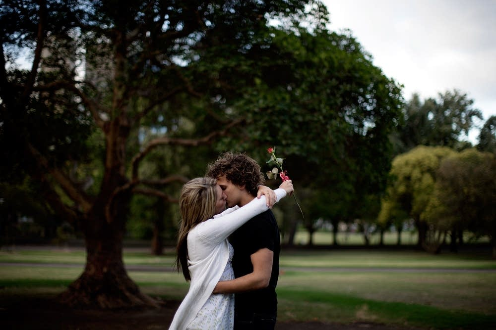 A couple kisses on Valentine's Day in Australia
