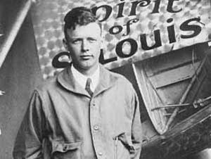 Charles Lindbergh poses with the Spirit of St. Louis