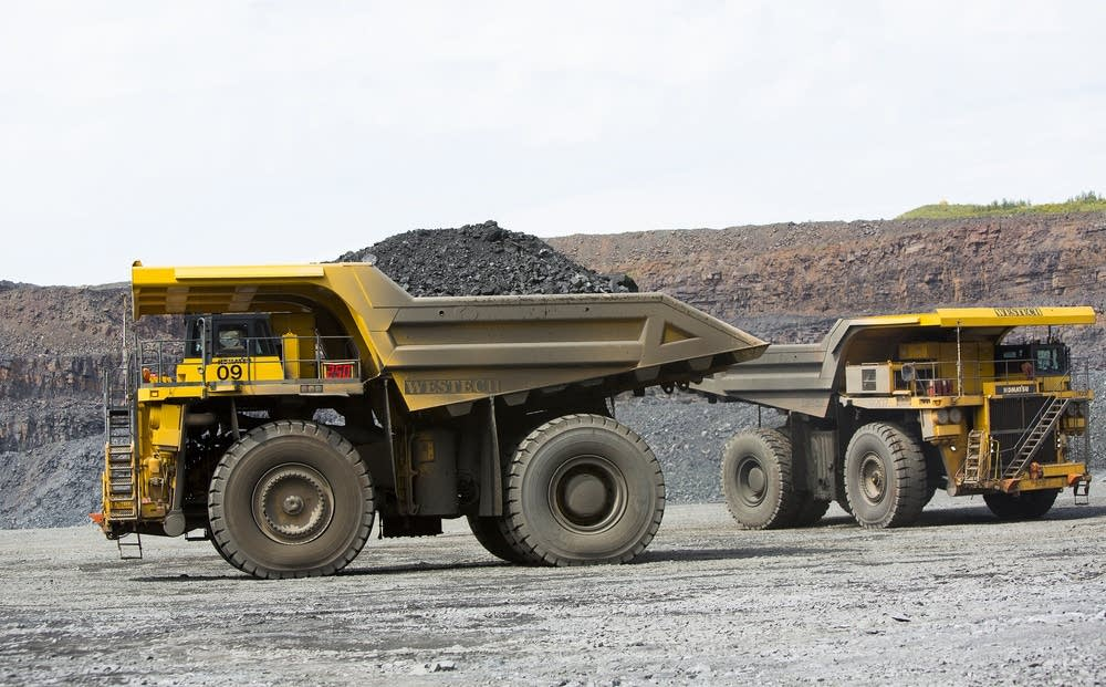 A haul truck with 250 tons of taconite ore