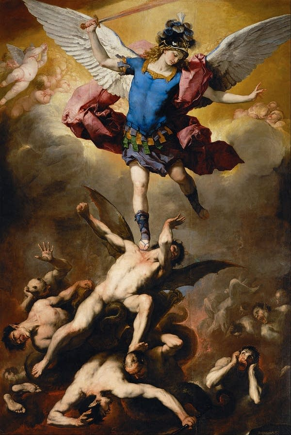 Michael defeating the fallen angels, by Luca Giordano