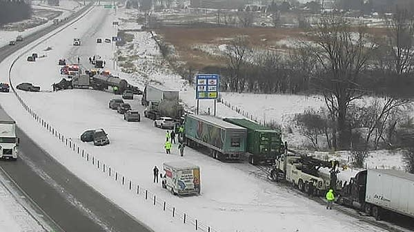 The northbound lanes of Interstate 35 at Owatonna are closed