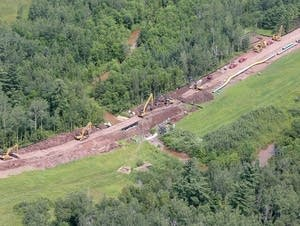 An aerial view of the Enbridge pipeline under construction
