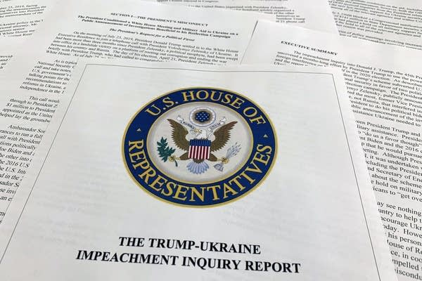The report on the House Intelligence Committee on the impeachment inquiry.