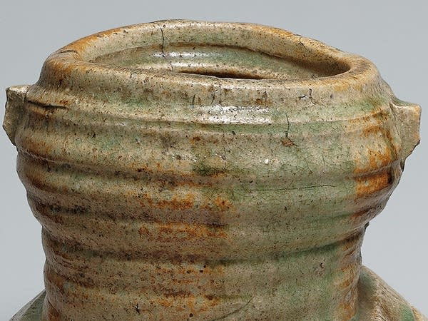 Detail of stoneware with natural ash glaze
