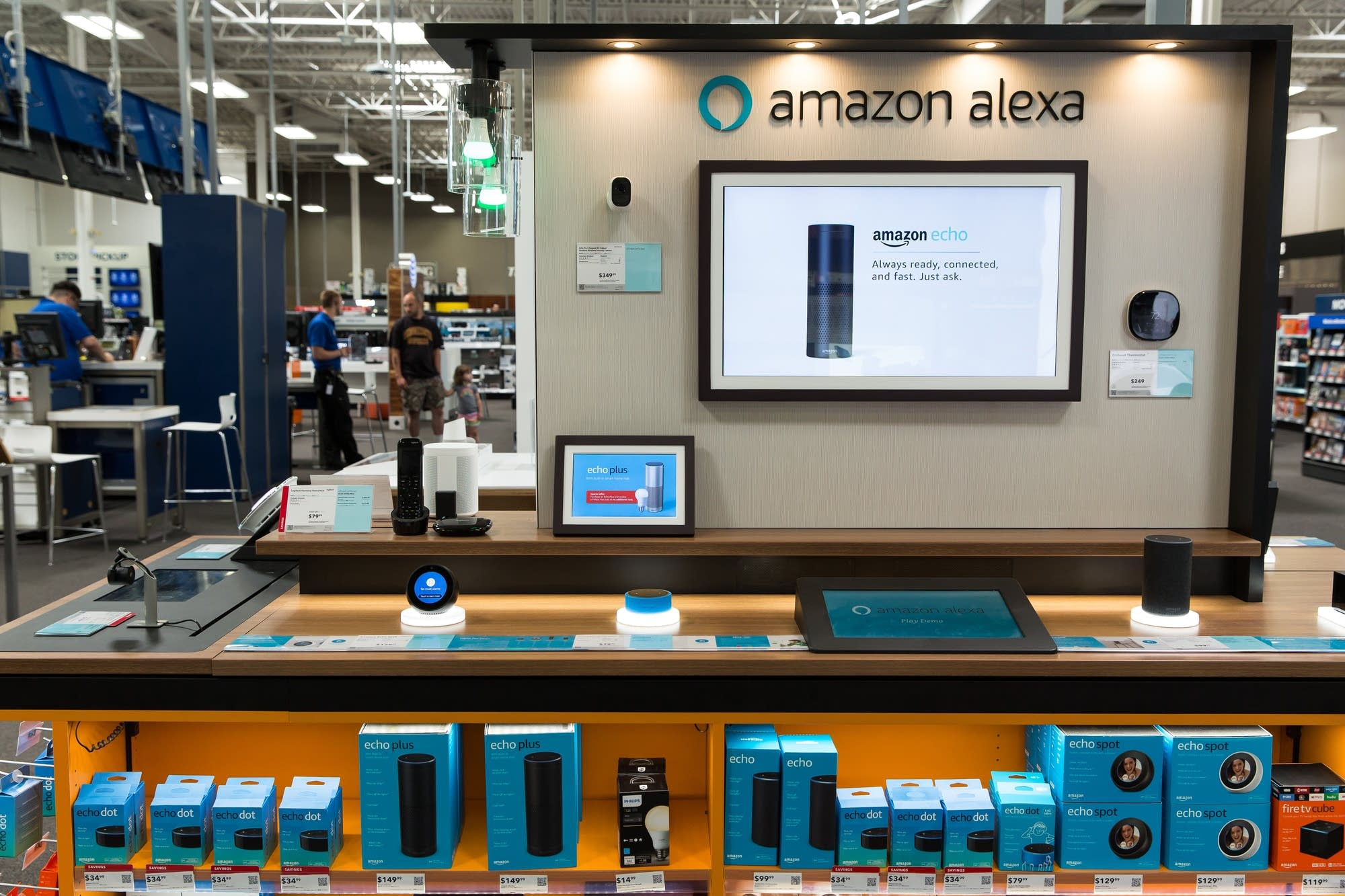 Best Buy's flagship store houses a kiosk full of Amazon products.