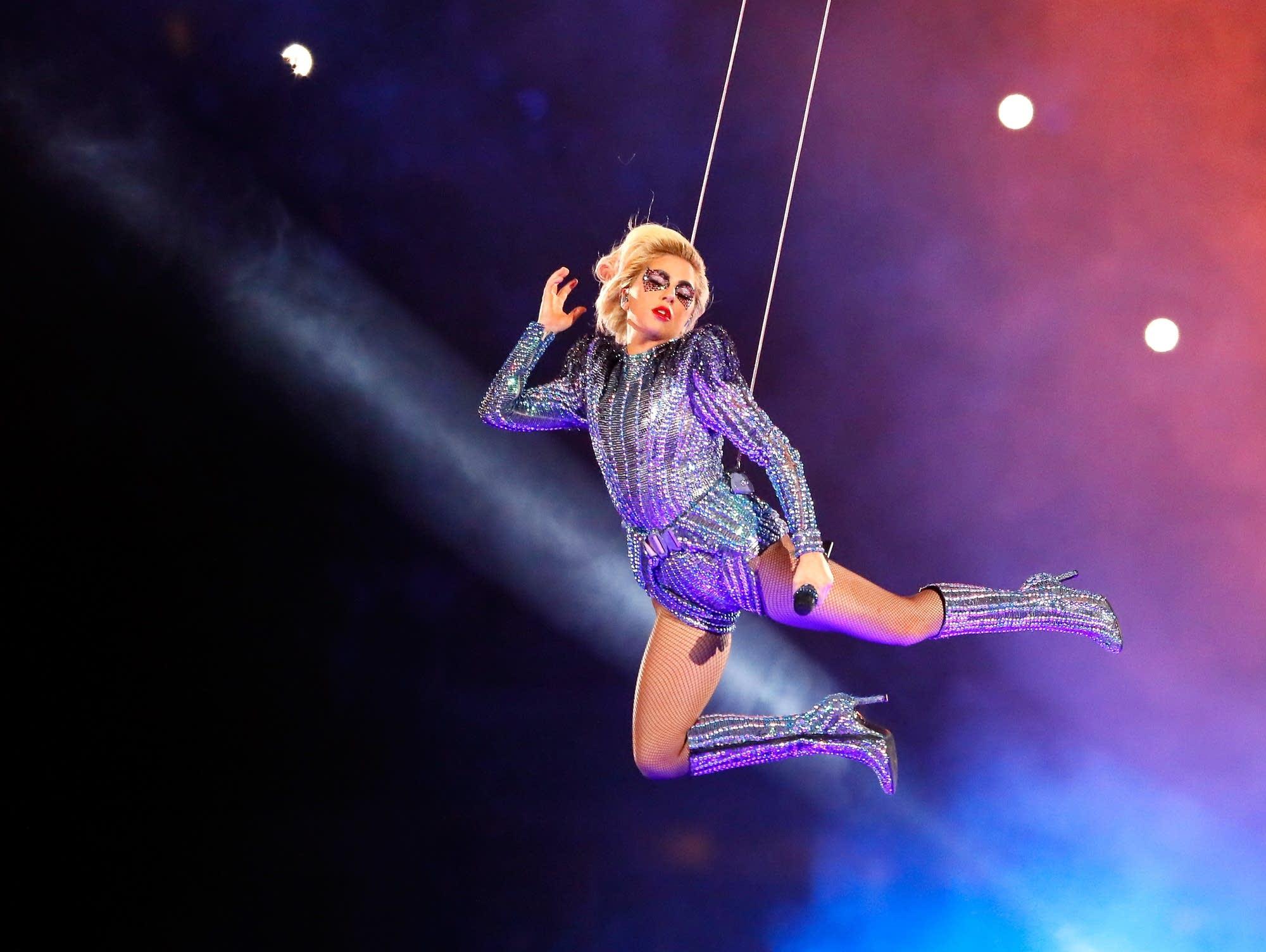 Lady Gaga performs at Super Bowl LI