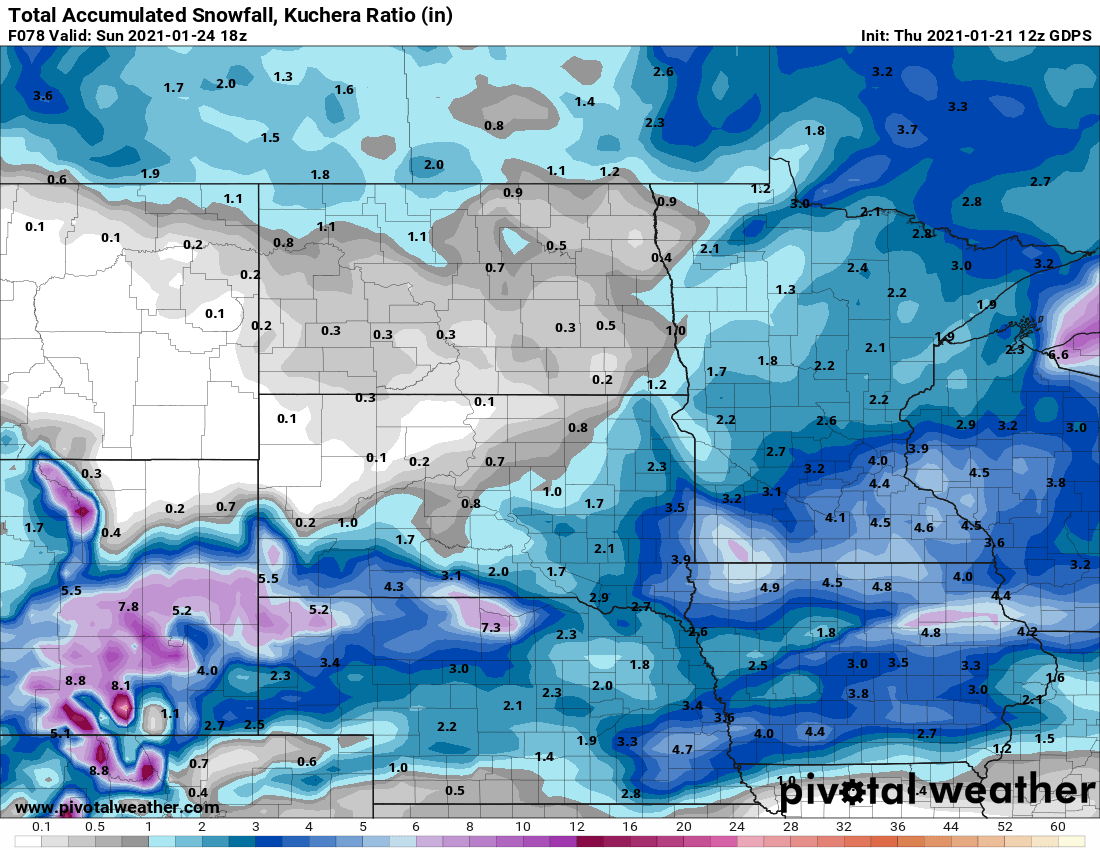 Canadian model snowfall output by Sunday morning