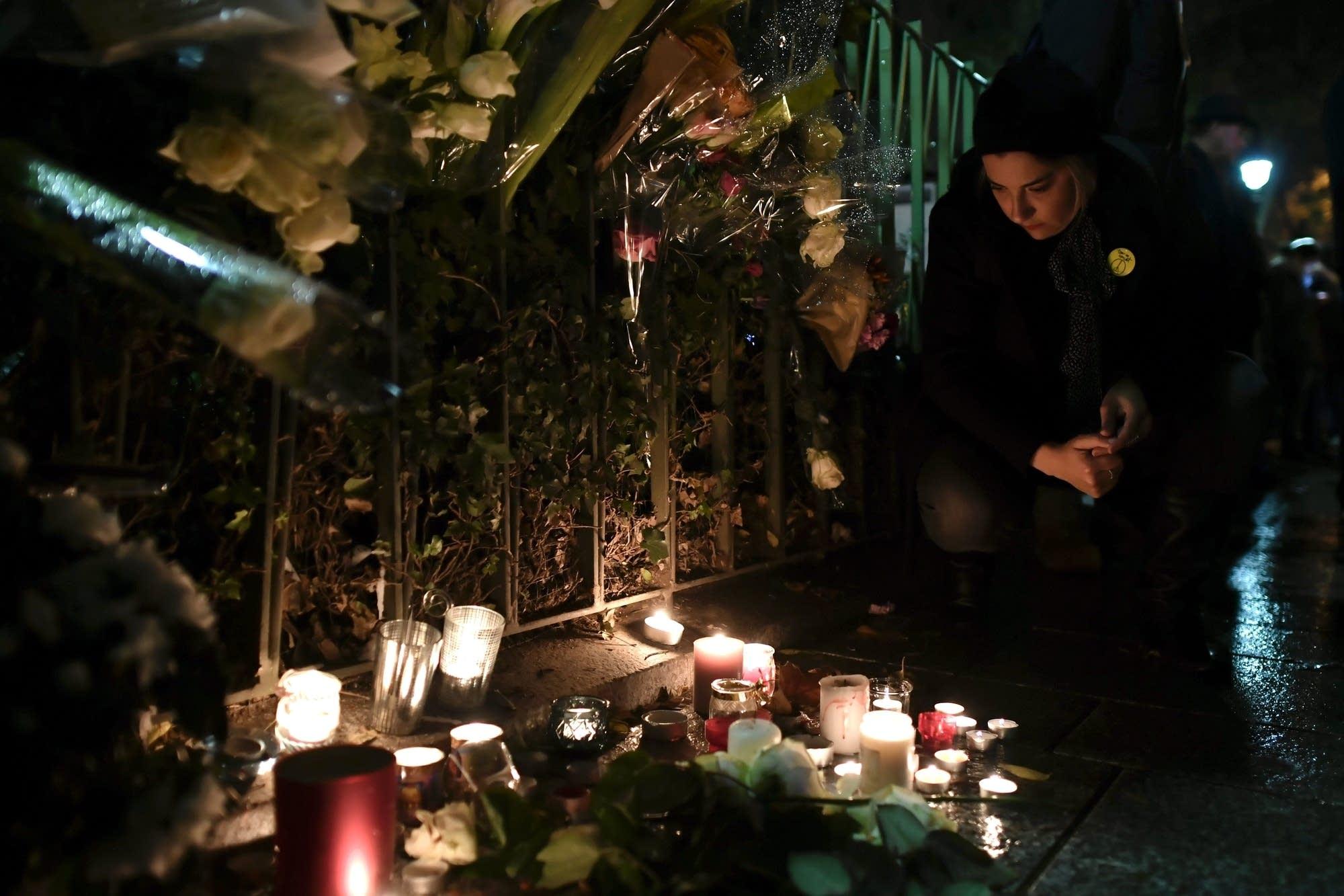 A vigil outside the Bataclan