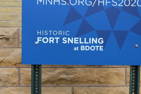 A sign at Fort Snelling on May 3, 2019.