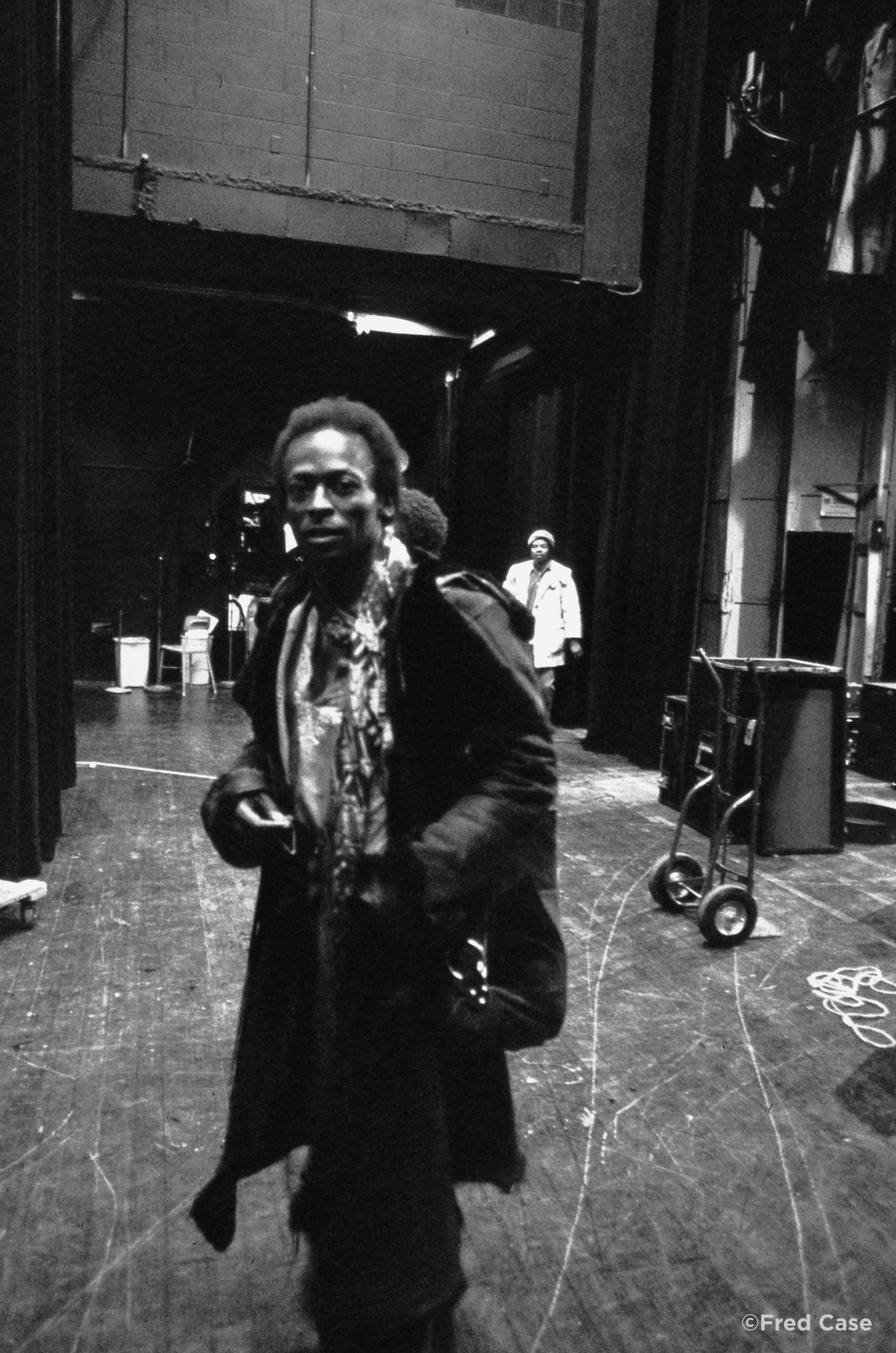 Miles Davis backstage at the Guthrie Theater, 1971.