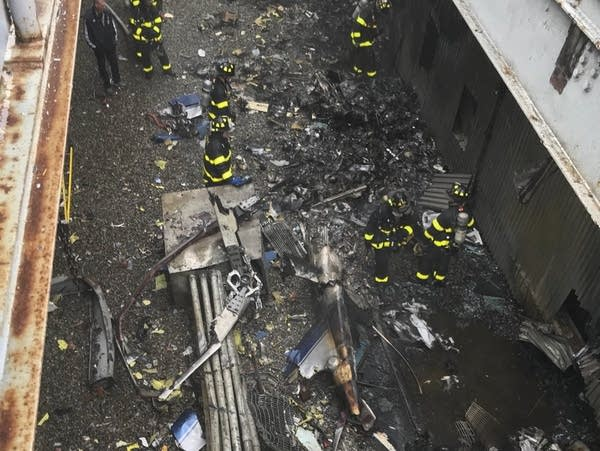 Helicopter crash in Manhattan, New York.