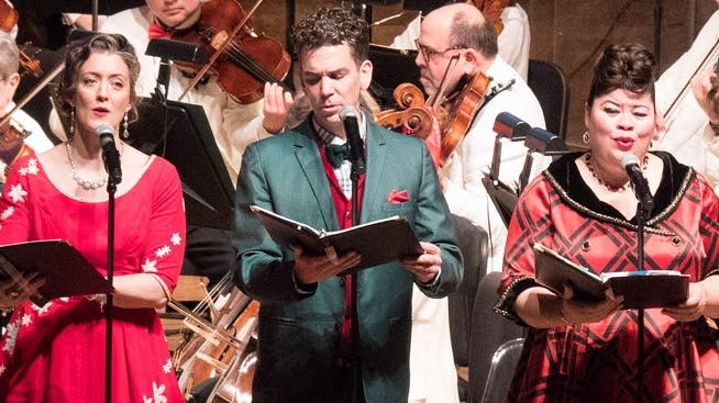 Performers sing in the Minnesota Orchestra's 'Home for the Holidays.'