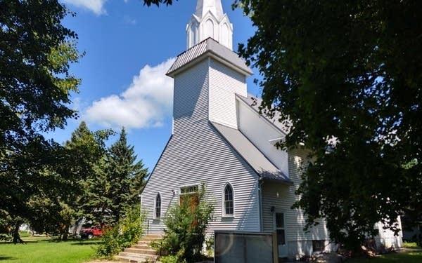 A white church building.