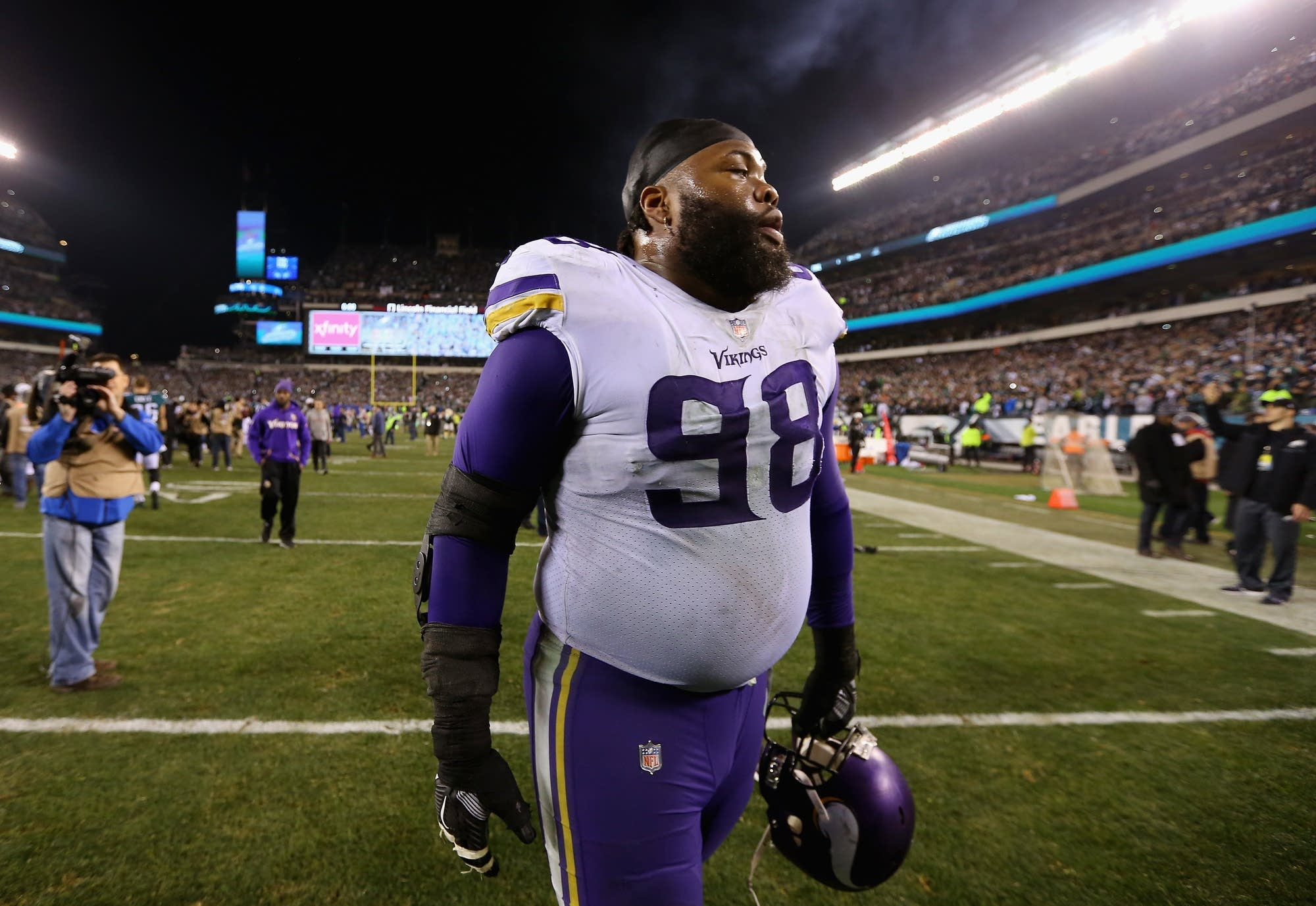 Linval Joseph (98) of the Minnesota Vikings walks of the field.