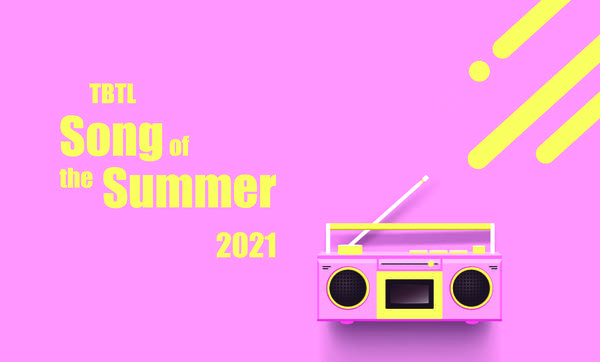 """Logo: Pink background, yellow text w/ Boom Box """"TBTL Song of the Summer"""""""