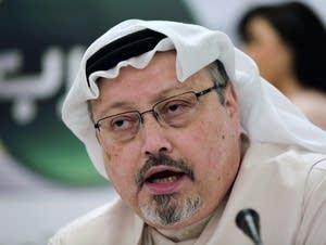Saudi journalist Jamal Khashoggi speaks during a news conference.
