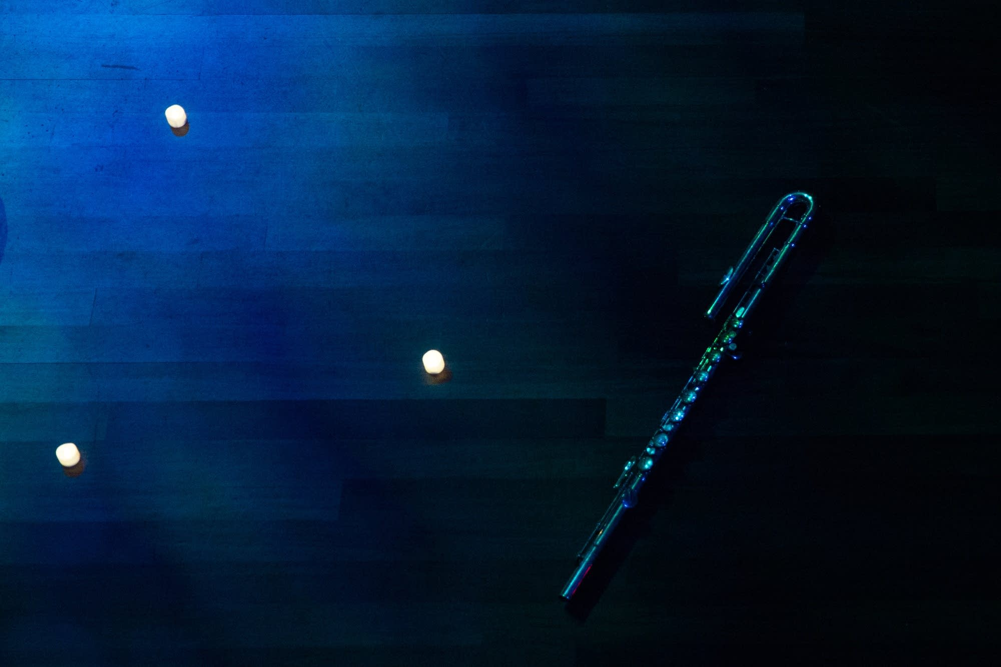 An alto flute rests on the Ordway stage.