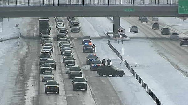 Traffic moves slowly around a crash on Interstate 94