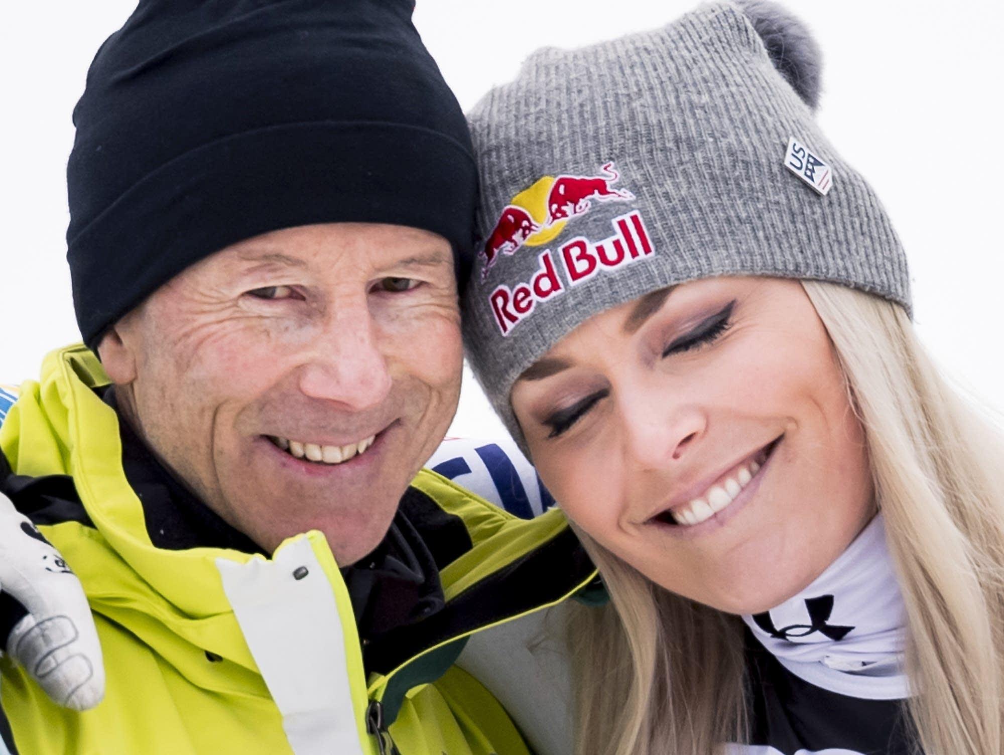 Lindsey Vonn celebrates with ski legend Ingemar Stenmark