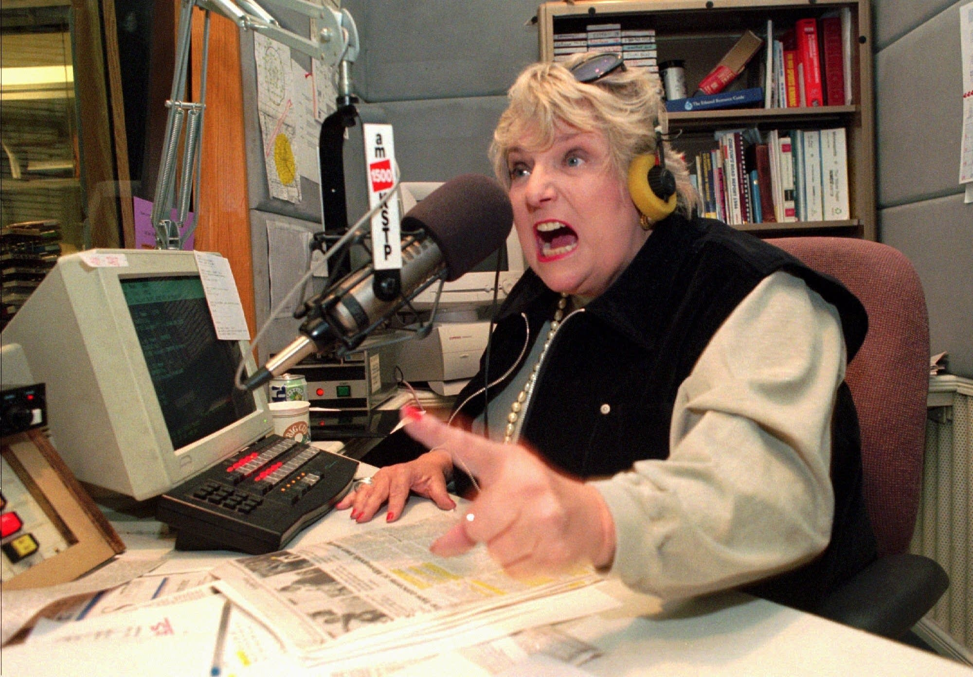 Barbara Carlson drives home a point to a caller.