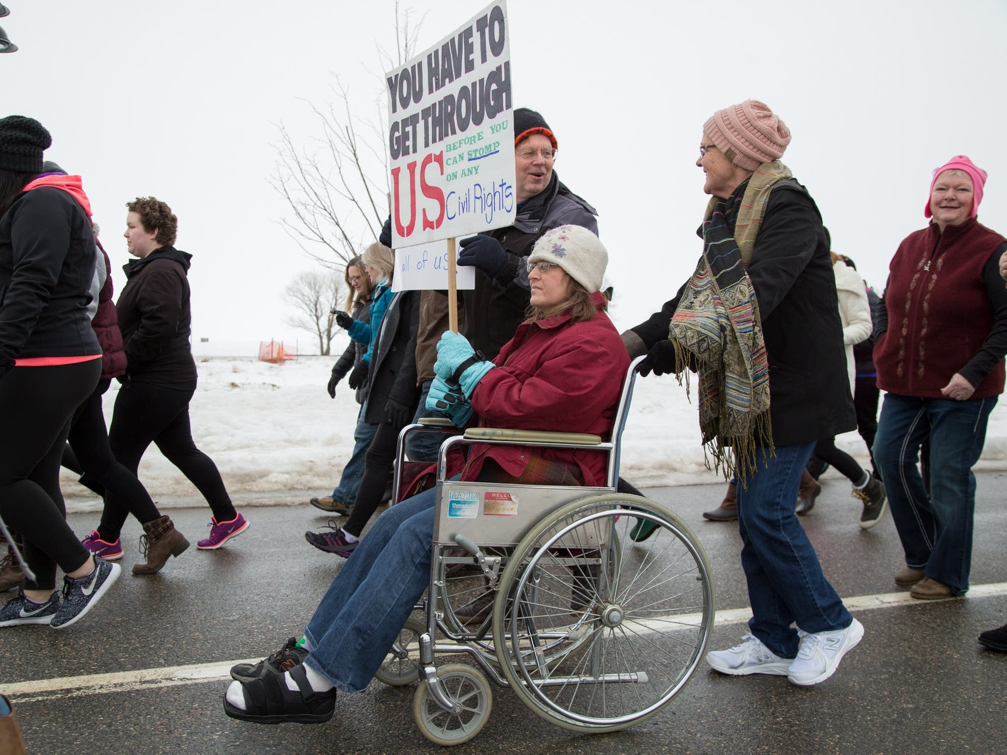 More than 250 people marched through downtown Bemidji.