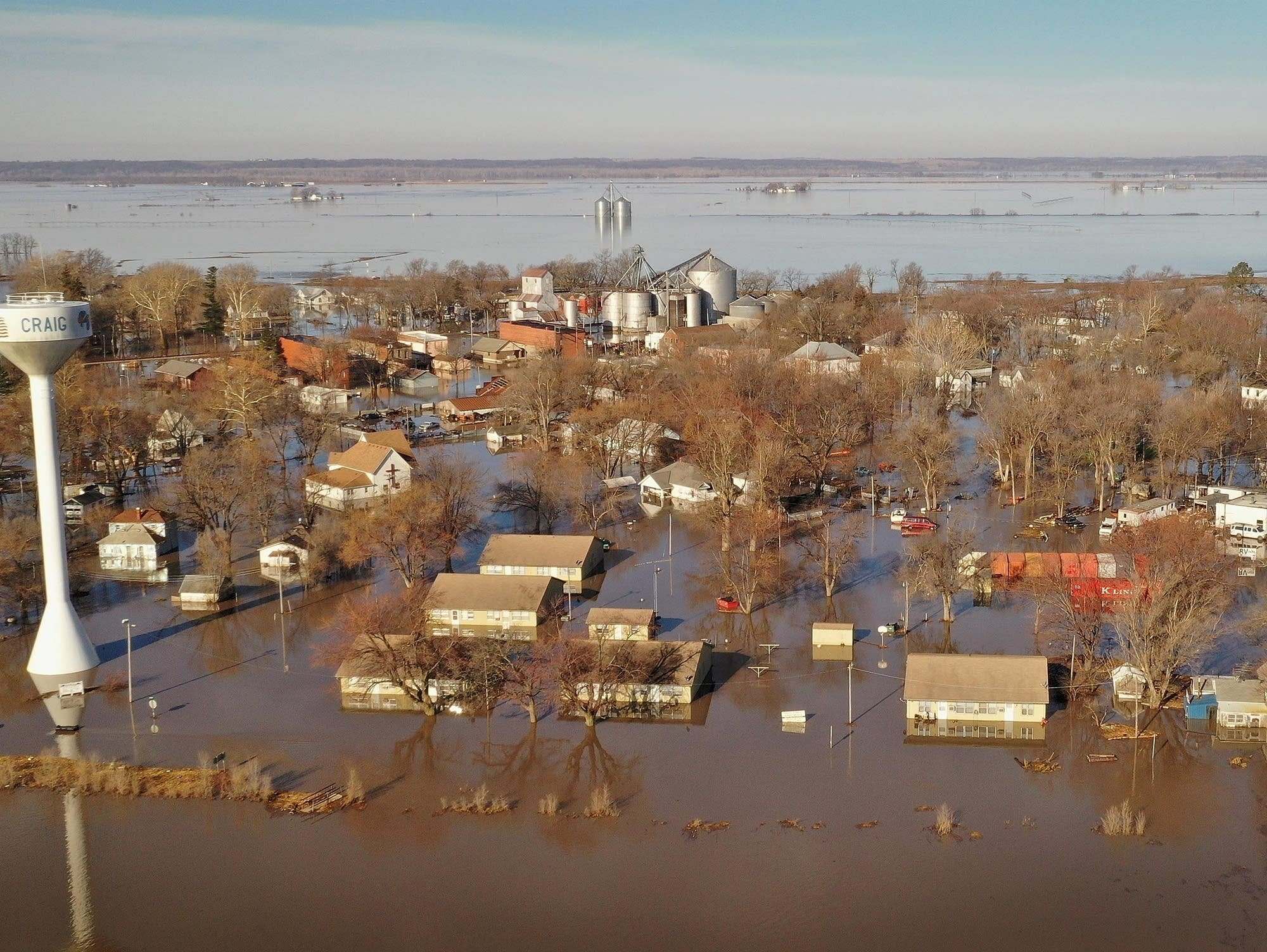 Floodwaters inundate the town of Craig, Mo.