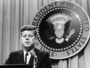 John F. Kennedy at a press conference in 1963