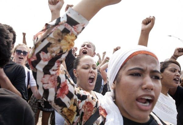 Protestors chanted